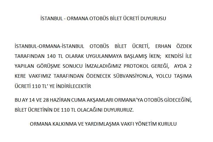 İSTANBUL ORMANA SEYAHATLERİ
